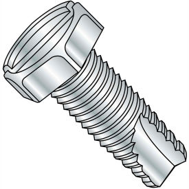 3/8-16X1  Slotted Indented Hex Thread Cutting Screw Type 23 Fully Threaded Zinc Bake, Pkg of 750