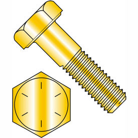 3/4-16 x 3-1/2 Hex Cap Screw - Fine Thread - Grade 8 - Zinc Yellow - Pkg of 100