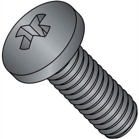 4-40 x 1-1/2 Phillips Pan Machine Screw - Coarse - Full Thread - S/S - Black Oxide - Pkg of 2000
