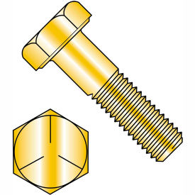 1/4-28 x 1-1/2 MS90726 Military Hex Cap Screw - Fine Thread - Yellow - Grade 5 - Pkg of 1500