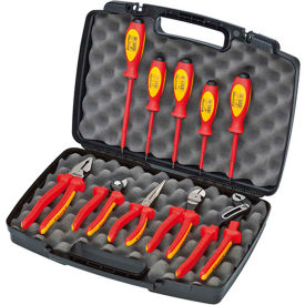 KNIPEX 9K 98 98 30 US 10 Pc Pliers / Screwdriver Insulated Tool Set 1000V, Hard Case by