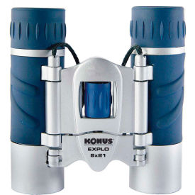 Konus 2023 Explo 8x21mm Binoculars Central Focus Ruby Coating Blue Silver