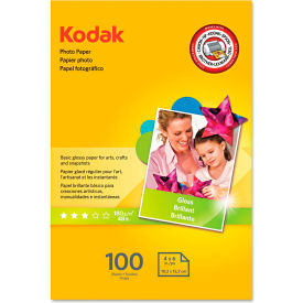 """Kodak Photo Paper 1743327, 4"""" x 6"""", White, 100/Pack"""