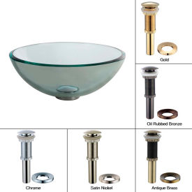 "Kraus GV-101-14-CH Clear 14"" Glass Vessel Sink W/PU-MR Chrome"