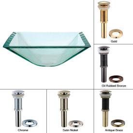 Kraus GVS-901-19mm-CH Aquamarine Square Clear Glass Vessel Sink W/PU-MR Chrome