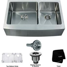 """Kraus KHF203-33 33"""" Farmhouse Apron 60/40 Double Bowl 16 Ga. Stainless Steel Kitchen Sink"""