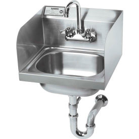 """Krowne HS-5 - 16"""" Wide Hand Sink with Side Splashes and P-Trap with Overflow"""