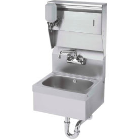 """Krowne HS-8 - 16"""" Wide Hand Sink with Soap & Towel Dispenser and P-Trap with Overflow"""