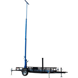 Larson Electronics LM-25-3S-TLR, 25ft Three Stage Light Mast on 14 Ft Single Axle Trailer w/ wheels
