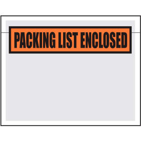 "Packing List Envelopes - ""Packing List Enclosed"" 7"" x 5-1/2"" Clear Face - 1000/Case"