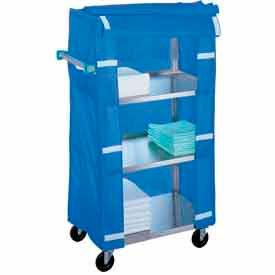 Lakeside 332 Stainless Steel Linen Service Cart with Nylon Cover, 300 lbs. Capacity by