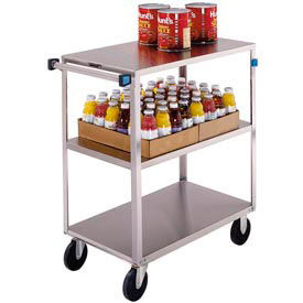 Lakeside® 351 Medium Duty Stainless Steel 3 Flush Shelf Cart 500 Lb Cap