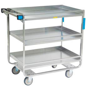 Lakeside® 730 Guard Rail Stainless 3 Shelf Cart 38 x 22 x 37 700 Lb Cap