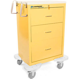 Lakeside® C-330-K-1Y Classic 3-Drawer Medical Isolation Cart, Yellow, Key Lock