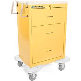 Lakeside® C-330-K-1Y Classic 3-Drawer Medical Isolation Cart, Yellow, Key Lock