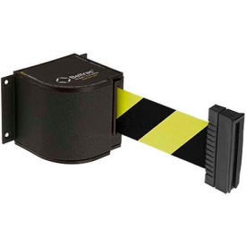 Lavi Industries Wrinkle Black Wall Mount, 18'L Safety Black/Yellow Retractable Belt Barrier