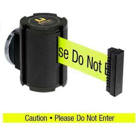 "Lavi Industries Wrinkle Black Magnetic Wall Mount Unit, 13'L Yellow, ""Caution - Do Not Enter"" Belt"
