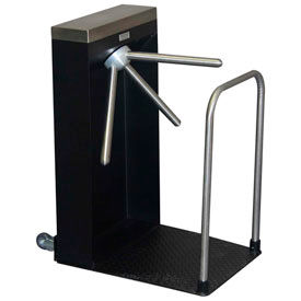 3-Arm Mechanical Turnstile, Rt Handed w/ Locked Exit, Floor Mat, Satin Stainless
