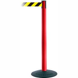 "Tensabarrier Popular 38""H Red Post 7.5'L Black/Yellow Chevron Retractable Belt"