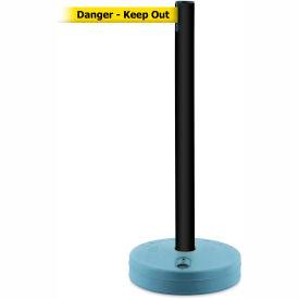 Tensabarrier Black Outdoor Post 7.5'L BLK/YLW Danger-Keep Out Retractable Belt Barrier