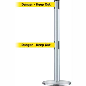 Tensabarrier Satin SS Adv Univ Dual Line 7.5'L BLK/YLW Danger-Keep Out Belt Barrier