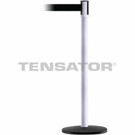 Tensabarrier White Slimline 7.5'L Black Retractable Belt Barrier