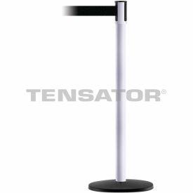 Tensabarrier White Slimline 7.5'L Black Retractable Belt Barrier