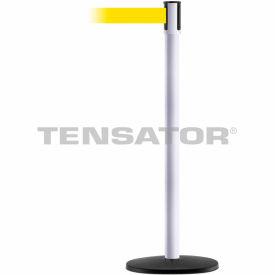 Tensabarrier White Slimline 7.5'L Yellow Retractable Belt Barrier