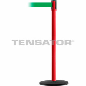 Tensabarrier Red Slimline 7.5'L Green Retractable Belt Barrier
