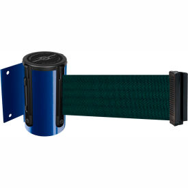 Tensabarrier Blue Mini Wall Mount 7.5'L Green Retractable Belt Barrier