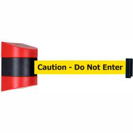 Tensabarrier Red Wall Mount 24'L Black/Yellow Caution-Do Not Enter Retractable Belt Barrier
