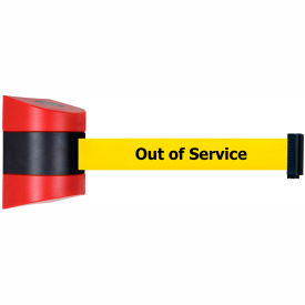 Tensabarrier Red Wall Mount 15'L BLK/YLW Out of Service Retractable Belt Barrier