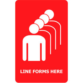 """Tensabarrier Red 7""""x11"""" 1/4"""" Thick Acrylic Sign - Line Forms Here"""