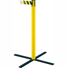 Tensabarrier Safety Crowd Control, Queue Stanchion Post, Yllw 7.5' Blk/Yllw Retractable Belt Barrier