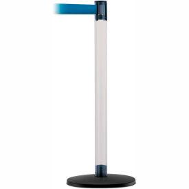 Tensaclear Post,  Satin Chrome Base, 7.5 Ft., Blue Belt