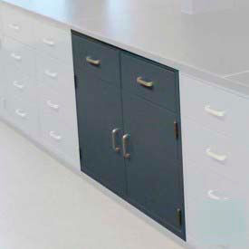 "Lab Base Cabinet 35""W x 22-1/2""D x 35-3/4""H, 2 Drawers, 2 Cupboard Doors, W/1 Shelf, Model Gray"