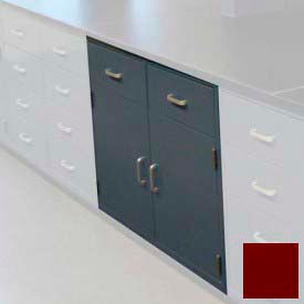 "Lab Base Cabinet 47""W x 22-1/2""D x 35-3/4""H, 2 Drawers, 2 Cupboard Doors, W/1 Shelf, Burgundy"