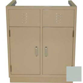 """Lab Base Cabinet 35""""W x 22-1/2""""D x 35-3/4""""H, Louvered Panels W/2 Cupboard Doors, Stone Gray"""