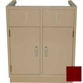 """Lab Base Cabinet 35""""W x 22-1/2""""D x 35-3/4""""H, Louvered Panels W/2 Cupboard Doors, Burgundy"""