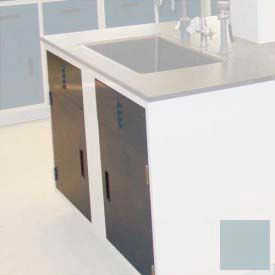 "Lab Base Cabinet Sink Base 58""W x 22-1/2""D x 35-3/4""H Louvered Panels W/2 Cupboard Doors, Model Gray"