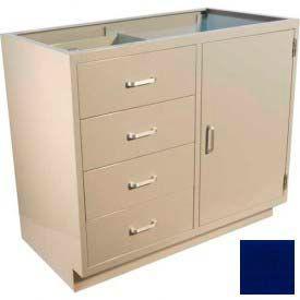 """Lab Base Cabinet 35""""W x 22-1/2""""D x 35-3/4""""H, 4 Drawers, 1 Side Cupboard Door, W/1 Shelf, Navy Blue"""