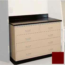 "Lab Base Cabinet 35""W x 22-1/2""D x 35-3/4""H, 2 Drawers & 3 Full Width Drawers, Burgundy"