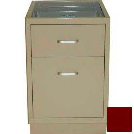"Lab Base Desk Height Cabinet 18""W x 22-1/2""D x 28-1/2""H, 1 Drawer, 1 Filing Drawer, Burgundy"