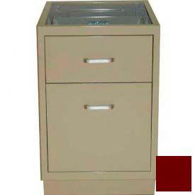 "Lab Base Desk Height Cabinet 18""W x 22-1/2""D x 28-1/2""H, 1 Drawer, 1 Filing Drawer, Burgundy"