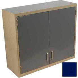 "Lab Wall Cabinet 35""W x 13""D x 30""H, 2 Steel Doors, 2 Adj Shelves, Navy Blue"
