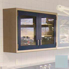 """Lab Wall Cabinet 35""""W x 13""""D x 30""""H, 2 Glass Steel Encased Doors, 2 Adj Shelves, Model Gray"""