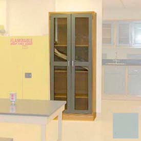 "Lab Wall Freestanding Cabinet 35""W x 18""D x 84-1/4""H, 2 Glass Doors, 5 Adj Shelves, Stone Gray"