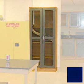 "Lab Wall Freestanding Cabinet 35""W x 18""D x 84-1/4""H, 2 Glass Doors, 5 Adj Shelves, Navy Blue"