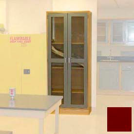"Lab Wall Freestanding Cabinet 35""W x 18""D x 84-1/4""H, 2 Glass Doors, 5 Adj Shelves, Burgundy"