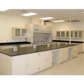 "Lab Design Island Bench 101""W X 60""D X 3'3/4""H, 4 Door, Stone Gray"